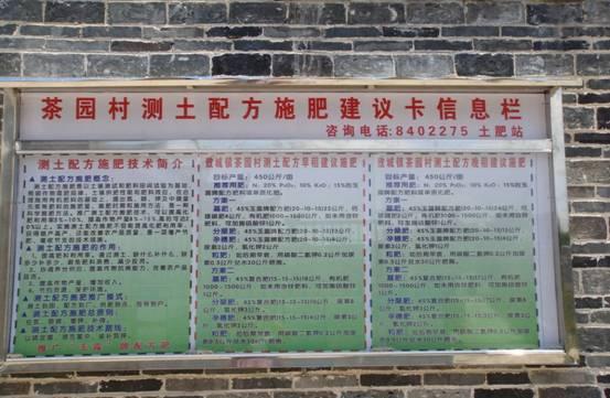 图为敖城镇茶园村测土配方水稻建议施肥卡上墙实景