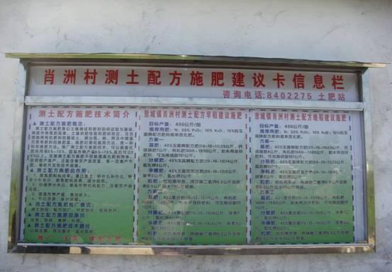 图为敖城镇肖州村测土配方水稻建议施肥卡上墙实景